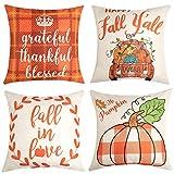 Anickal Juego de 4 fundas de almohada de otoño agradecimiento bendecidas naranja y blanco búfalo a cuadros de granja decorativa de 18 x 18 pulgadas para decoración de sofá