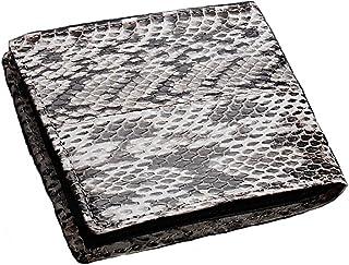 蛇革 折財布 最高級本革 カラー 二つ折りサイフ ブラック 黒