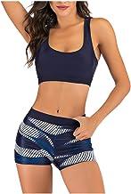 Women Two Piece Swimsuit Tankini, Ladies Solid Tank Tops Sport Bra with Swim Shorts Swimwear
