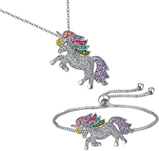 TikTok Direct Unicorn Necklace - 2 Pack Rainbow Unicorn Necklace Bracelet Set for Girls Best Friend Necklace Bracelet (Unicorn Gift Set)