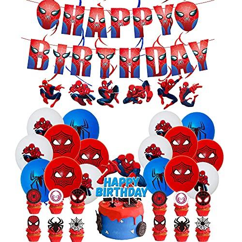 Cumpleaños Spiderman Globos Spider Man Banner de Cumpleaños Spiderman Remolinos Colgantes de Decoración Spider Man Decoración Tarta para Niñas Niños Decoraciones para Fiestas de Cumpleaños