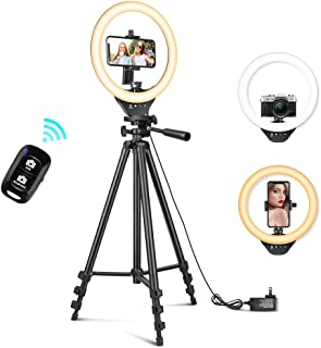 10'' Ring Light with 50'' Extendable Tripod Stand,...