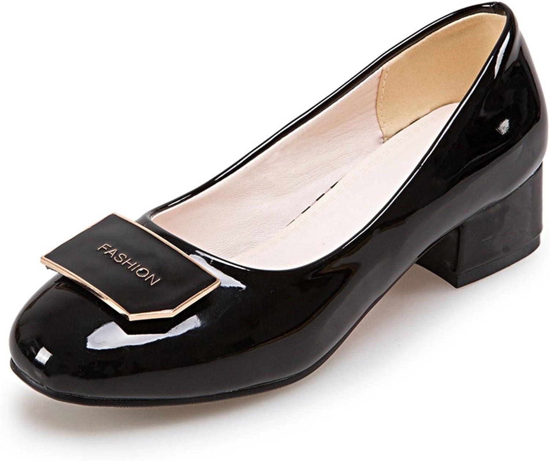 DoraTasia Women's Sweet Slip on Round Toe Low Chunky Heel Pumps shoes