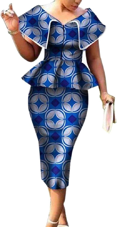 CBTLVSN Women's Top and Bodycon 2 Piece Set Africa Print Cerement Skirt Sets