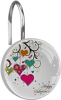 Rideau de Douche Crochets Anneaux – Bain Accessoires de Salle de Bain Lot de 12 pcs,Jour Heart Heart Saint Valentin