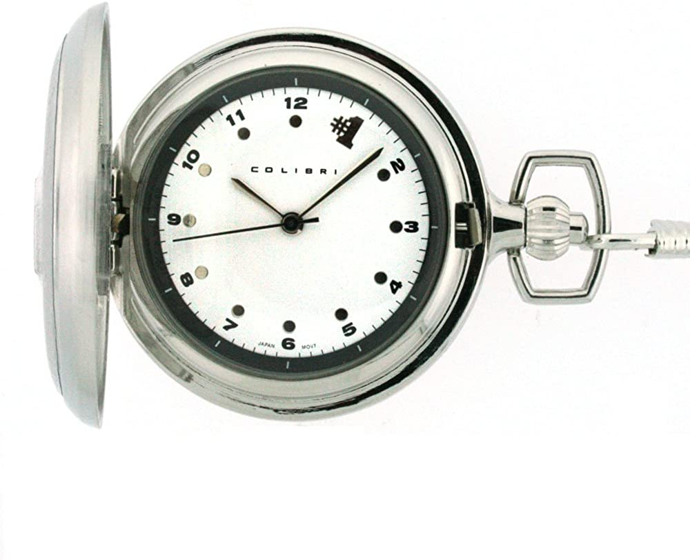 Columbus Mall Colibri Pocket Watch #1 Import Stainless with PWQ097200C Steel Chain