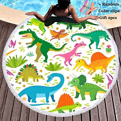 Toalla de Playa Redonda, Morbuy Dinosaurio Zoológico Microfibra Tassel Beach Towel Blanket Mujer Hombre Niño La Playa Tapiz de Pared Manta (150x150cm,Dinosaurio 1)