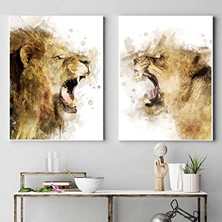 Lion Wild Animal Canvas Painting Wall Art Picture Poster Home Decor Decoration