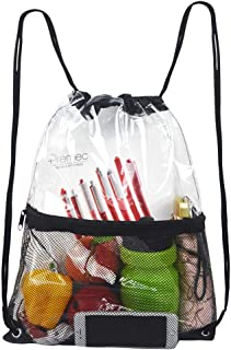 Clear Drawstring Bag, PVC Drawstring Backpack with Front Zipper Mesh Pocket