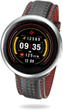 MyKronoz ZeRound2 HR Premium Smartwatch with Heart Rate Monitoring and Smart Notifications, Swiss Design, iOS and Android - Brushed Silver / Black Carbon Red Stitching Band