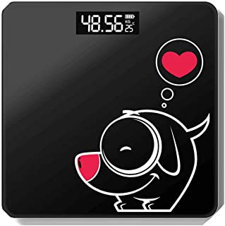 Bathroom Floor Body Scale Glass Smart Electronic Scales USB Charging LCD Display Body Weighing Home Digital Weight Scale,Battery PuppyBlack