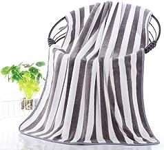 منشفة حمام من الصوف المرجاني، منشفة منزلية كبيرة، خفيفة الوزن وناعمة وذات قدرة عالية على الامتصاص (27 * 55 انش) (تخطيط رمادي)