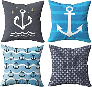 Shorping Decorative Pillow Covers, Zippered Covers Pillowcases Set of 4 16X16Inch Throw Pillow Covers Clip Art Marine Anchor Stars Sea Night Travel Vibes Print Elements Design for Home Sofa Bedding