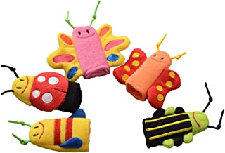 NUOBESTY 5 pcs Dedo marioneta Insecto Juguetes Historia Hora Marionetas Felpa marioneta Insecto Dedo marioneta Felpa (Mariposa Mariquita Abeja)