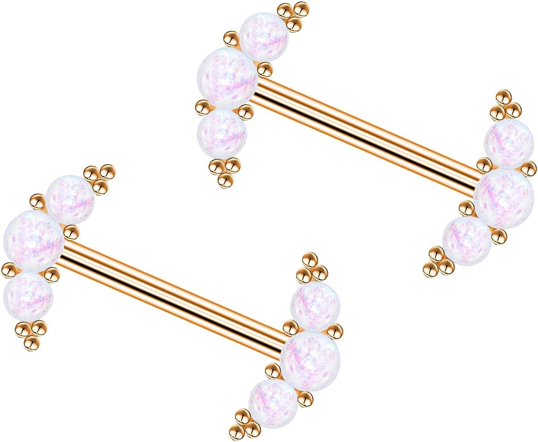 CHARM ONLINE 14G Surgical Steel Nipple Barbells CZ Gem Butterfly Nipplerings Piercing for Women