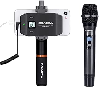 Comica CVM-WS50(H) Wireless Handheld Microphone System, with UHF 6 Channels, 194FT Wireless Range, Built-in Chargable Battery, Microphone for iPhone Samsung Huawei and More