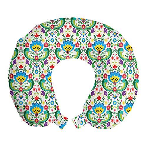 ABAKUHAUS Noruego Cojín de Viaje para Soporte de Cuello, Arte Popular tonalidades Coloridas, Viajes Siestas Leer Mirar TV, 30x30 cm, Multicolor