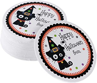BESTOYARD 48-50pcs Tags Message Cards Party Favors Baking Biscuit Candy Treats Bags Boxes Paper Tags Labels (Black Cat)
