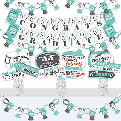 Big Dot of Happiness Medical School Grad - Banner and Photo Booth Decorations - Doctor Graduation Party Supplies Kit - Doterrific Bundle