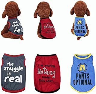 Sebaoyu 3 Pack Dog Puppy Clothes for Small Medium Dogs Boy Girl-Puppy Dog Clothing Shirts Female Male-Pet Apparel & Access...