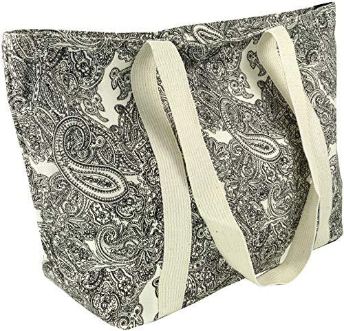 Guru-Shop Einkaufstasche, Handtasche, Shopper mit Paisleydruck - Weiß/schwarz Paisley 1, Herren/Damen, Baumwolle, Size:One Size, 30x40x15 cm, Alternative Umhängetasche, Handtasche aus Stoff