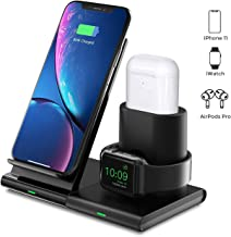 Seneo Caricatore Wireless, Caricabatterie Wireless 3 in 1, modalità Comodino per iWatch Series 5/4/3/2 e AirPods, Ricarica Rapida Wireless da 7.5W per iPhone 11/11 Pro/XS/XR/X/8/8P (Senza Cavo iWatch)