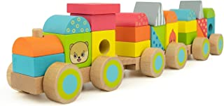 Bimi Boo Train Wooden Blocks - Trains for Toddlers - Stacking Toys for Boys and Girls - Learning Geometric Shapes for Kids - Classic Toddler Gift (Set of 23 Blocks, Locomotive and 3 Linking Cars )