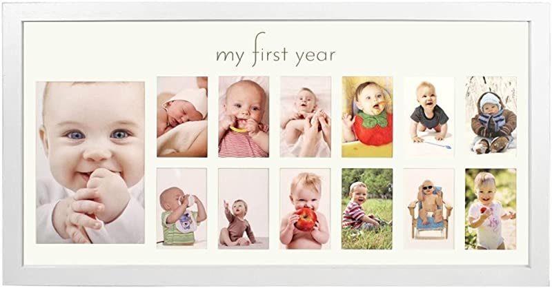 Baby S First Year Frame In Elegant White Natural Wood My First Year Baby Picture Frame For Photo Memories White