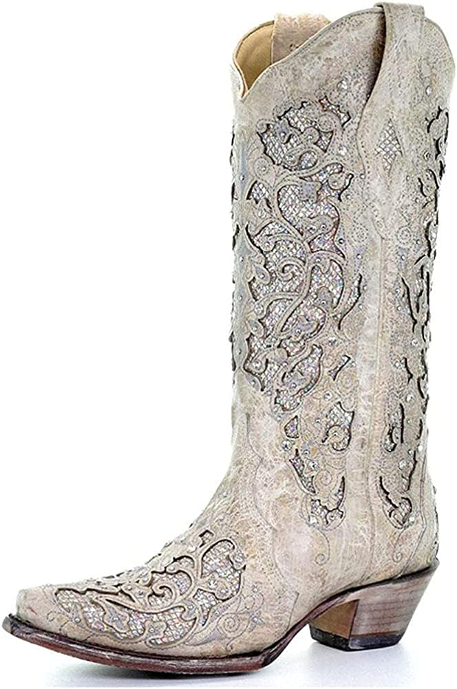 Mikarka Rodeo Cowboy Boots for Women Pull-Up Tabs Low Chunky Heel Cowgirl Boots Rhinestone Wedding Embroidered Western Mid Calf Boots