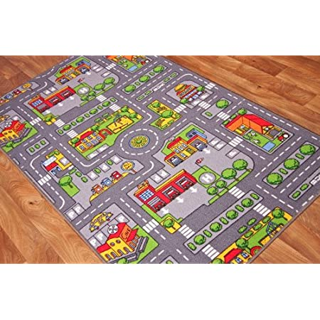 """The Rug House Tapis de Jeu pour Enfants avec Routes et Village, Polyamide, Gris, 100 x 165cm (3ft 3"""" x 5ft 5"""")"""