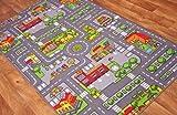 The Rug House Tapis de Jeu pour Enfants avec Routes et Village, Polyamide, Gris, 100 x 165cm (3ft 3' x 5ft 5')