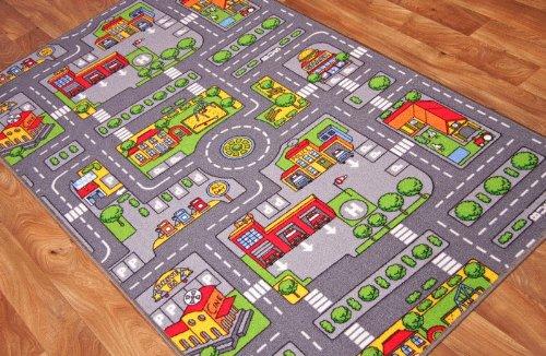 The Rug House - Tappeto Gioco per Bambini con Strade della Città, Poliammide, Grey, 100cm x 165cm (3'3' x 5'5')