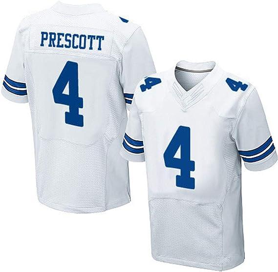 Yanbeng Camisetas de la NFL Rugby Fan Dallas Cowboys NO.4 Prescott Jersey de fútbol Americano Camisetas de Manga Corta para Hombres con Cuello en V ...