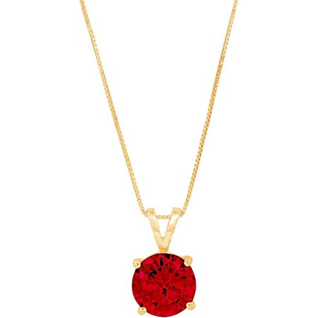 1.50 ct Round Brilliant Cut Ideal VVS1 Deep Red Natural Garnet Pendant Necklace Bridal Anniversary 18 chain 14k Pink Solid Rose Gold