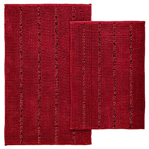 Tayis Tapis de Bain Lot de 2 Antidérapant Absorbant Doux Tapis de Sol de Salle de Bain Rayures Chenille Lavable en Machine pour Baignoire et Cuisine, 40x60cm+50x80cm, Rouge