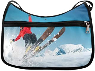 Jump Skiers Extreme Winter Sports Messenger Bag Crossbody Bag Large Durable Shoulder School Or Business Bag Oxford Fabric For Mens Womens