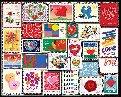 White Mountain Puzzles Love Stamps 1000 Piece Puzzle, 1 EA