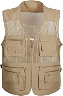 Summer vest mesh vest Men's Loose Outdoor vest Fishing vest Breathable Thin vest Multi-Pocket vest (Color : Khaki, Size : XXXXL)