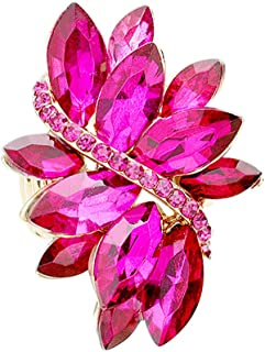 Women's Women's Dazzling Crystal Leaf Stretch Cocktail Ring