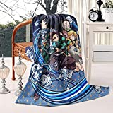 Demon Slayer Blanket Anime Blanket Comfy Lightweight Ultra Soft Flannel Plush Throw Blanket for Couch Sofa Bedding Living Room 50x60 Inches