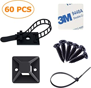 Strong-Adhesive-Backed Mounts Cable Tie Mounts Wire Tie Base Holders adjustable cable clips zip ties Screw-Hole Anchor Point Provides Optimal Strength for long (60 pack)