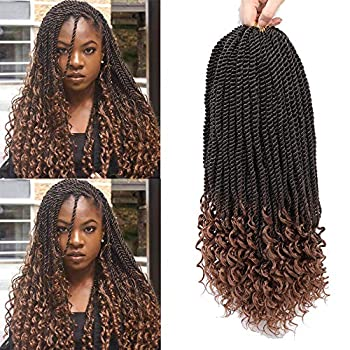AGO Senegalese Twist Crochet Hair 6 Packs 16 Inch Goddess Senegalese Twist Crochet Hair Curly Ends Pre Looped Synthetic Hair 30Strands/Pack  16 inch T30