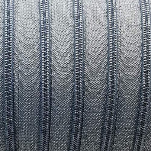 Endlos-Reißverschluss 5 mm mittelgrau - 5 m Meterware mit 15 Zippern - Farbe 037