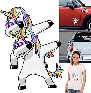 DreamJing Auto Aufkleber Einhor Reflektierende wasserdichte Sonnencreme Tattoo für Auto,Windows,Laptop,Boote 11.5 x 13cm