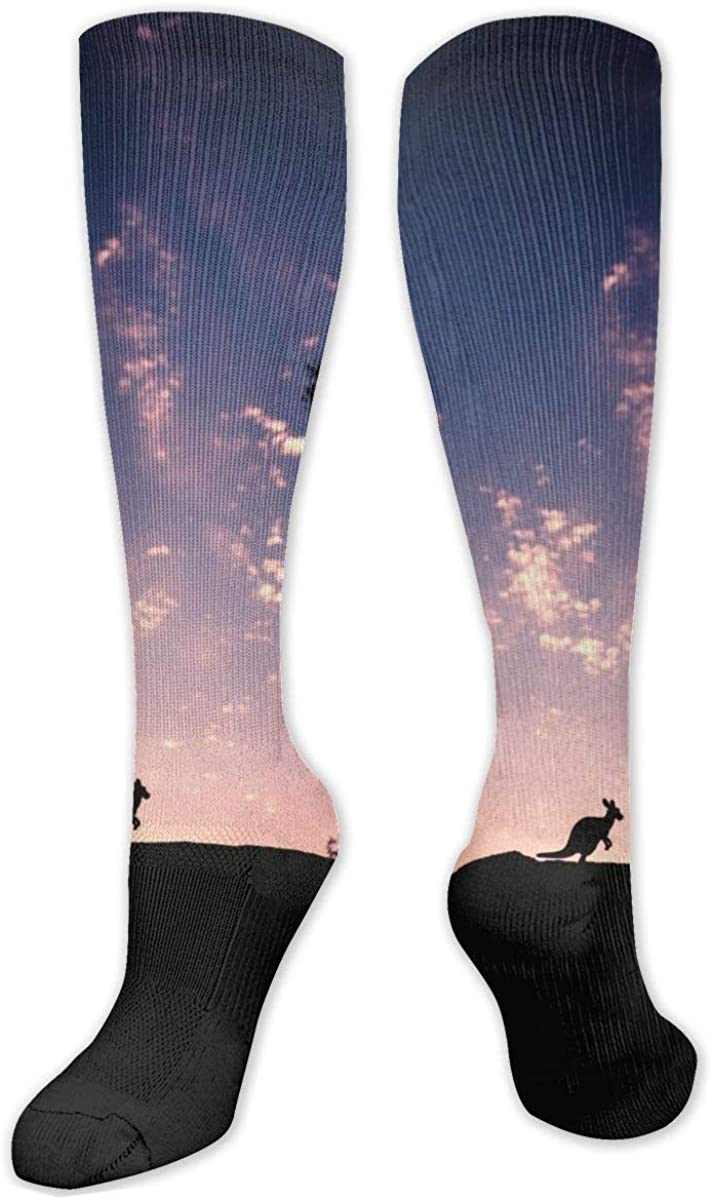 Silhouette Of Kangaroo Knee High Socks Leg Warmer Dresses Long Boot Stockings For Womens Cosplay Daily Wear