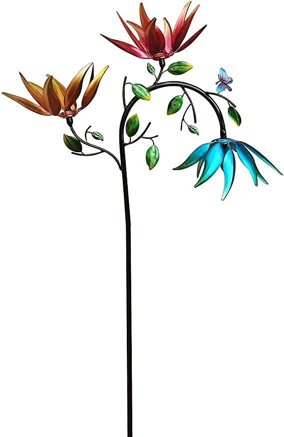 Amazon.com : Jiajaja Garden Decorations Outdoor Metal Wind Spinner with Three Spinning Flowers and Butterflies Windmill Yard and Garden Decor Ornament for Patio Lawn Yard Party Outdoor : Patio, Lawn & Garden