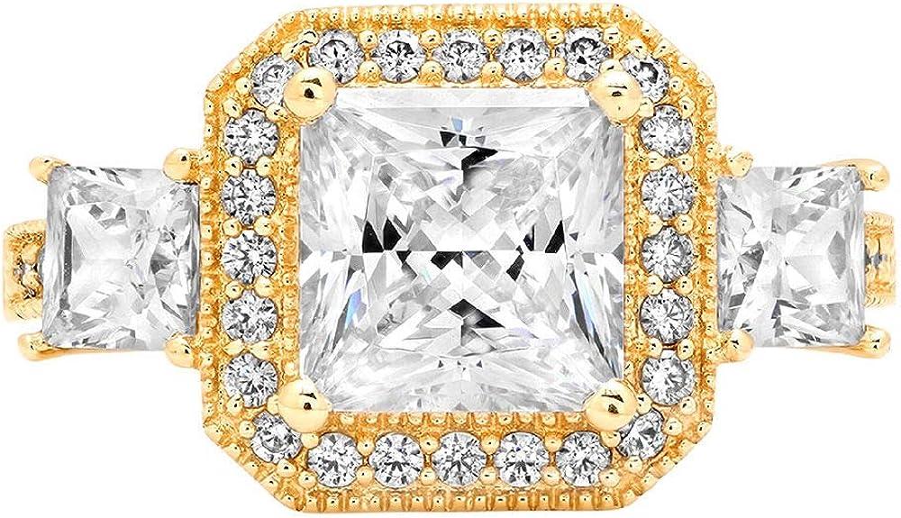 Clara Pucci 3.03 ct Halo Three Stone Cushion & Princess Brilliant Cut CZ Designer Band Ring in 14K Yellow Gold