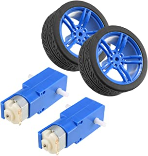 uxcell 2PCS DC Electric Motor 3-6V Dual Shaft Geared TT Magnetic Gearbox Engine w 2PCS Toy Car Tire Wheel, Mini Smart RC Car Robot Tyres