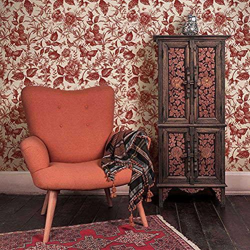 EFINNY Papel Pintado Autoadhesivo, Peel and Stick Papel Pintado Flor Vintage Autoadhesivo Removible Decorativo para el Hogar