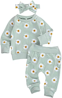 Baby Boys Girls Long Sleeve Rainbow Sweatshirt Top Ruffle Drawstring Pants Tracksuit Fall Winter Outfit Set